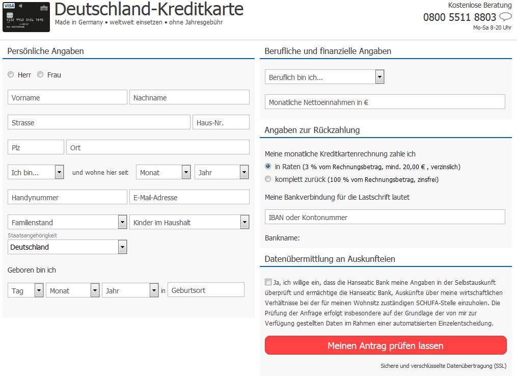 Antrag der Deutschland-Kreditkarte