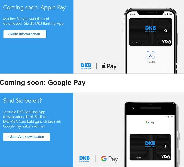 DKB will Apple Pay & Google Pay unterstützen