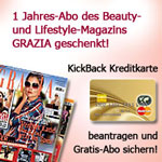gratis GRAZIA-Abo unter anderem zur Kickback Kreditkarte