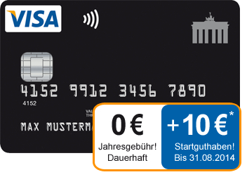 10 euro startguthaben auf kostenlose deutschland kreditkarte. Black Bedroom Furniture Sets. Home Design Ideas