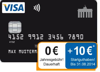 Kostenlose Kreditkarte mit 10 Euro Guthaben