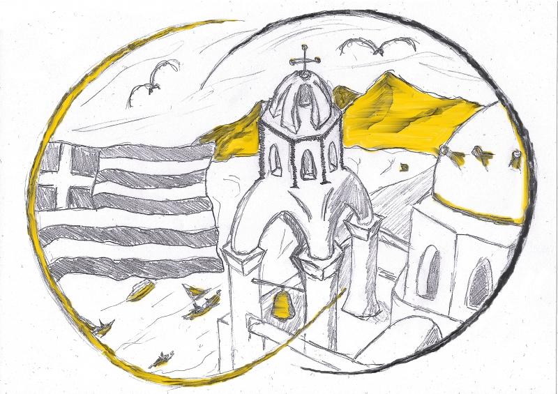 gezeichnetes Bild von Griechenland