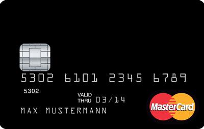 Schwarze Kreditkarte mit 20 Euro Startguthaben