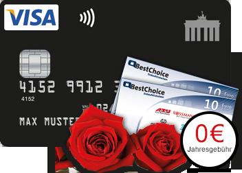 Valentinstag-Aktion! - Deutschland Kreditkarte bestellen und 20 Euro BestChoice Einkaufsgutscheine erhalten